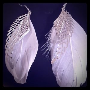 Jewelry - 👼Silver & White Feather Angel Wing Earrings👼
